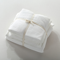 Simple Fashion Solid Colors Bedding Set 100 Washed Cotton Top Quality Duvet Cover Sets For Home