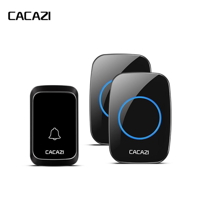 все цены на CACAZI Home Waterproof Wireless Doorbell Battery Button LED Light Cordless Calling Bell 300M Remote US EU Plug 4 Volume 58 Chime онлайн