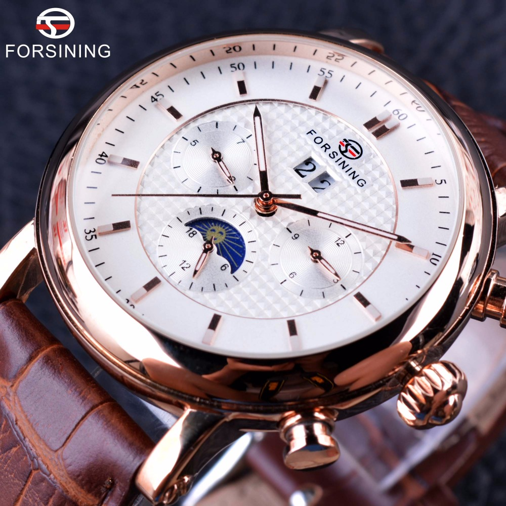 Forsining 2016 Luxury Rose Golden Series Moon Phase Calendar Design Clock Men Watch Top Brand Luxury Automatic Male Wrist Watch forsining date month display rose golden case mens watches top brand luxury automatic watch clock men casual fashion clock watch