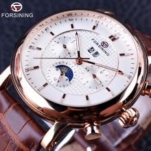 Forsining 2016 роскошные Розы Золотой серии Moon Phase календарь Дизайн часы, мужские часы лучший бренд роскошный автоматический мужской наручные часы