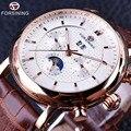 Forsining 2016 subiu série ouro calendário de fases da lua relógio de design de luxo homens assistir top marca de luxo automático do relógio de pulso masculino