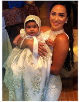 Noble Baby Girls Christening Gown Robe Flower Lace AppliquePearls Baby Boy 3 6 9 12 15 18 24 month