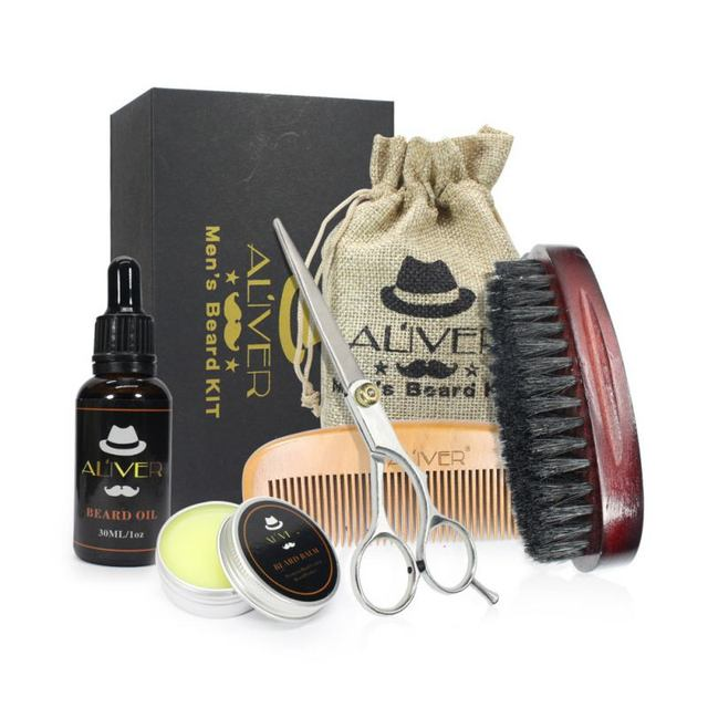 Brand New Men Moustache Cream Beard Oil Kit with Moustache Comb Brush Storage Bag 1
