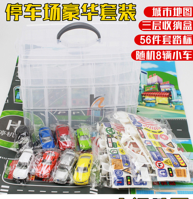 Children's toys parking traffic sign scene suit with trolley with early cognitive map