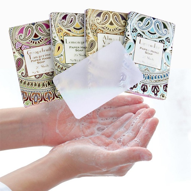 25pcs/Box Outdoor Travel Soap Paper Washing Hand Bath Clean Scented Slice Sheets Disposable Boxe Soap Portable Mini Paper Soap 3