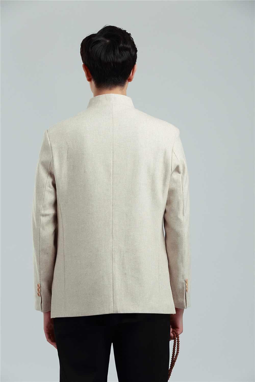 Шанхай история Китайская традиционная одежда Тан костюм воротник Мандарин смесь шерстяная ткань дракон вышивка китайская мужская куртка
