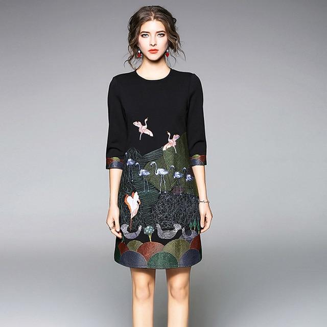 8a479ab97541309 Женское летнее платье с круглым вырезом и рукавом три четверти винтажное черное  платье с вышивкой Элегантное Вечернее Платье vestidos de fiesta