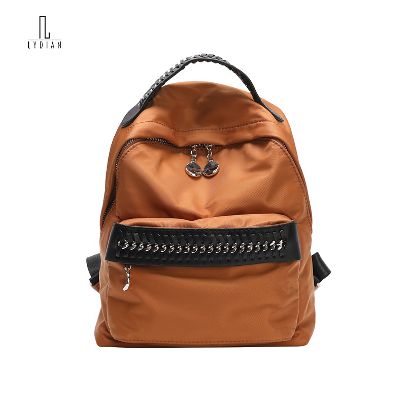 Lydian Chain Backpack Canvas Zipper Rukzak Bag 2018 New Double Shoulder Bag Brown School Casual Super Mini Book Soft Travel Bag zipit рюкзак zipper backpack