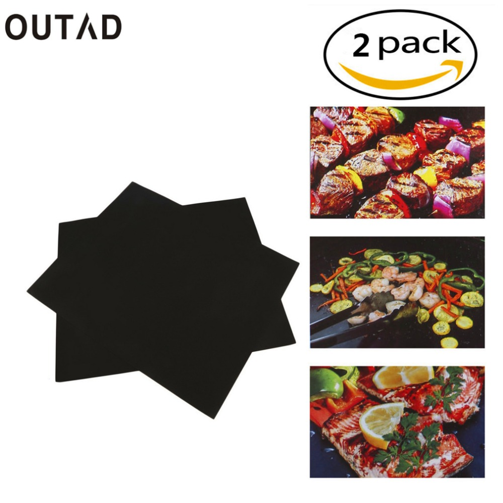 2 Pcs BBQ Grill Mat Sheet Hot Plate Portable Easy Clean OutDoor Nonstick Bakeware Cooking Tool
