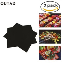 OUTAD 2 pcs Reusable Non-Stick BBQ Grill Mat Pad Baking Sheet Meshes Portable Outdoor Picnic Cooking Barbecue Tool Drop Shipping