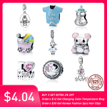 BISAER 925 Sterling Silver Guardian Angel Baby Car Bottle Bear Couple Family Pendant Beads fit Charm Bracelet DIY Jewelry Making(China)