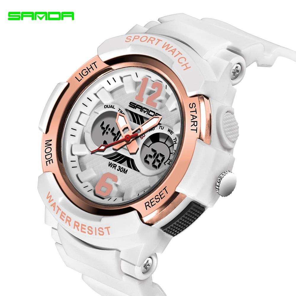 2020 SANDA marque électronique Sport Montre femmes montres à Quartz décontracté étanche Montre-bracelet numérique LED Femme horloge Montre Femme
