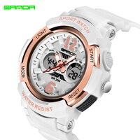 2018 SANDA брендовые электронные спортивные часы женские кварцевые часы повседневные водонепроницаемые светодиодный цифровые наручные часы ж...