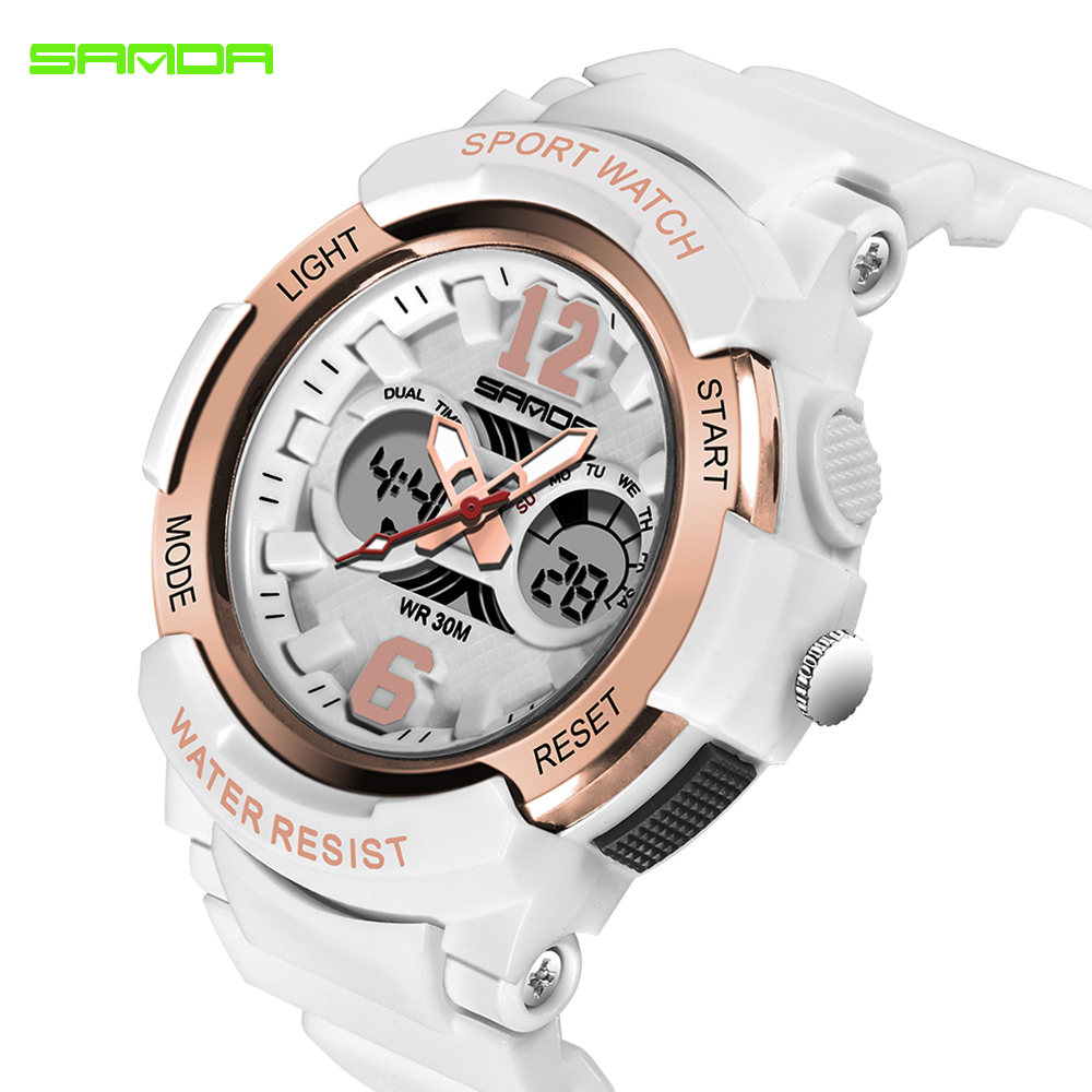 2018 SANDA Brand Electronic Sport Watch Women Quartz Watches Casual Waterproof LED Digital Wristwatch Female Clock Montre Femme