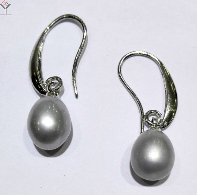 women Jewelry Earring Bright Gray Pearl Dangle Hook Earring Natural Freshwater pearl highlight pearl