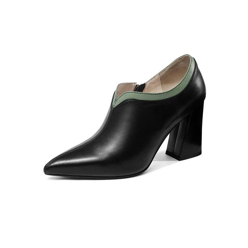 Morazora 2020 최고 품질의 정품 가죽 신발 지적 발가락 여성 펌프 간단한 지퍼 패션 광장 하이힐 신발 여성-에서여성용 펌프부터 신발 의  그룹 2
