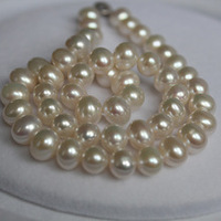 very good 34 Mujer Fine Jewelry Unique Egg shaped Natural Pearl Necklace Large 9 10mm Fine women jewelry s
