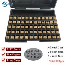 2*3*15 мм горячее тиснение буквы термальная лента печать алфавита шрифт для истечения срока кодовой Машины Дата Код Принтера