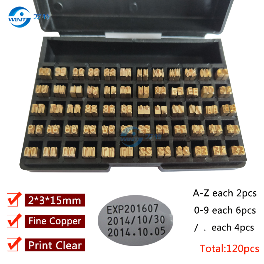 2*3*15mm Hot Stamping Letters Thermal Ribbon Printing Alphabet Font For Expiration Coding Machine  Date Code Printer