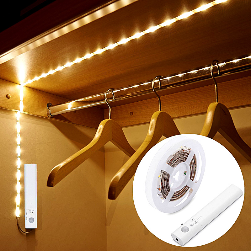 Flexible PIR Motion Sensor Night Light Motion Sensor LED Strip Rope Light Battery Operated For Wardrobe Cabinet Closet Bed Lamp cob led wall lamp rotary switch night light adjustable wireless closet cordless lamp battery operated wardrobe light