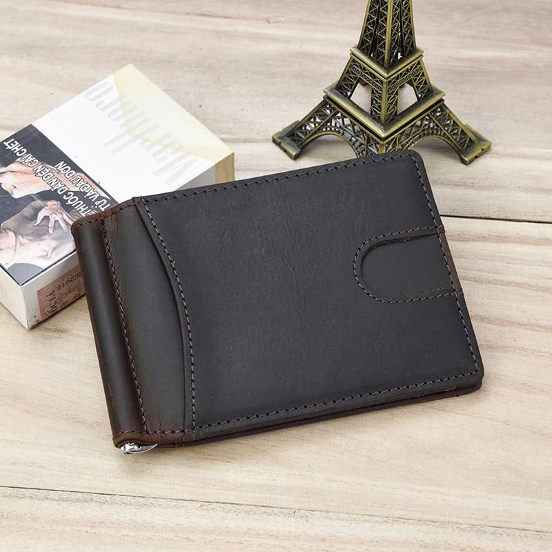 MAHEU Top Grade Brand Genuine Leather Money Clip Wallet Dollar Cash Card Cowskin Male Men's Clip Purse Wallet Business Card