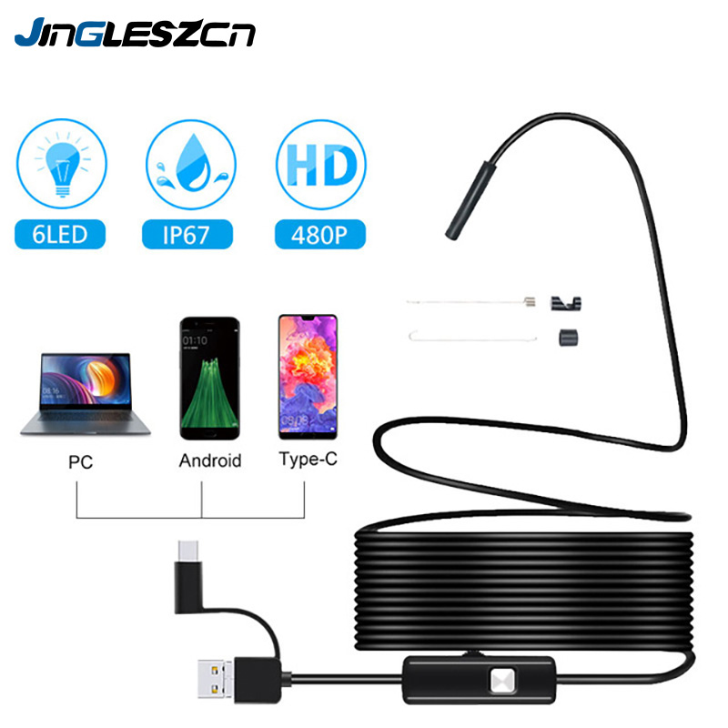 3 in 1 7mm Android Endoscope Camera IP67 Waterproof Inspection Borescope Camera with 6 led lights for Android Samsung PC Type-C 3 in 1 7mm Android Endoscope Camera IP67 Waterproof Inspection Borescope Camera with 6 led lights for Android Samsung PC Type-C