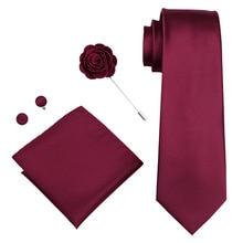 DiBanGu New Arrival Red Soild Mens Tie Brooch Hanky Cufflinks Set 100% Silk Neckties For Male Wedding Party Business XH-430
