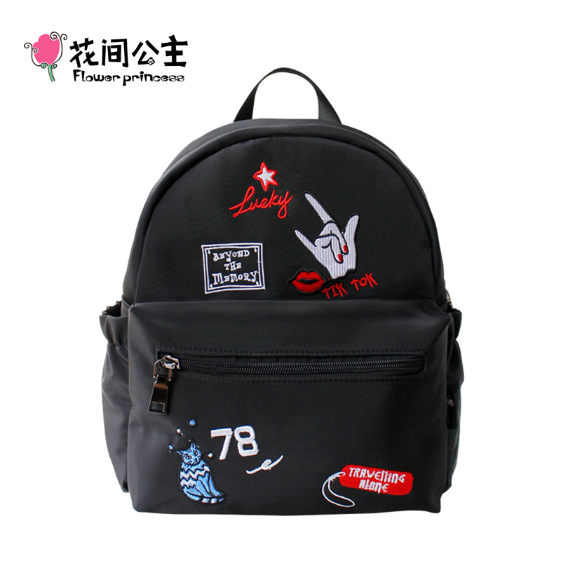 Flower Princess Embroidery Nylon Backpack Women High School Teenage Girls Bags Mochila Feminina Mujer Sac a Dos Femme Rucksack 2017 ethnic embroidered flower print backpacks women bags genuine leather backpack school bag sac a dos travel mochila feminina