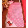 Free Shipping Kawaii Large 50*120cm Polka Dots Hello Kitty Coral Fleece Large Bedroom Carpet Mats Door mat
