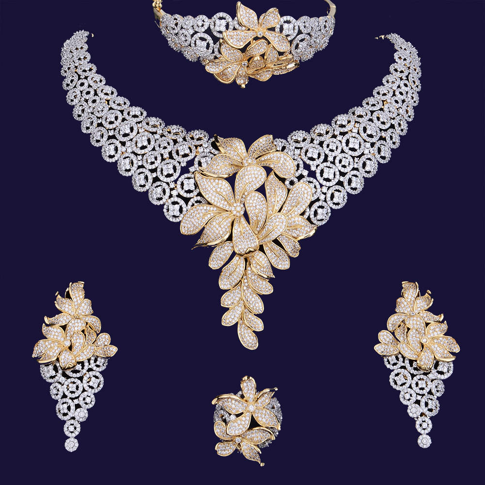 GODKI 84mm Super De Luxe Fleur BlossomFull Micro Cubique Zircone Femmes De Mariage Robe Foulard Collier Boucle D'oreille Ensemble de Bijoux