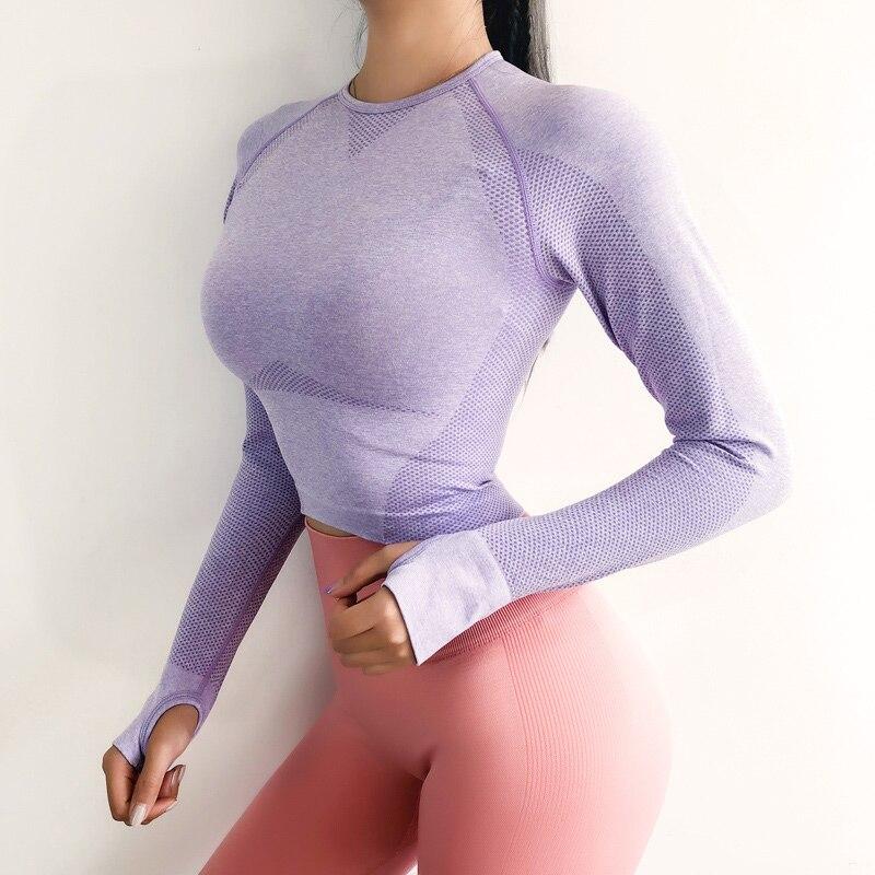 2019 neue Sexy Yoga Kleidung Frauen Nahtlose Nabel Langarm Gradienten Yoga Shirts Workout Rennen Sport Crop Top Gym Kleidung