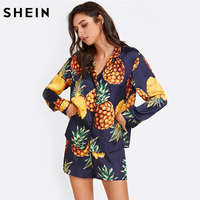 SHEIN Womens Pajamas Sleepwear Long Sleeve Navy Pineapple Print Tipping Shirt And Shorts Pajama Set Sleep