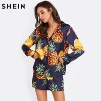 SHEIN Womens Pajamas Sleepwear Long Sleeve Navy Pineapple Print Tipping Shirt And Shorts Pajama Set Sleep