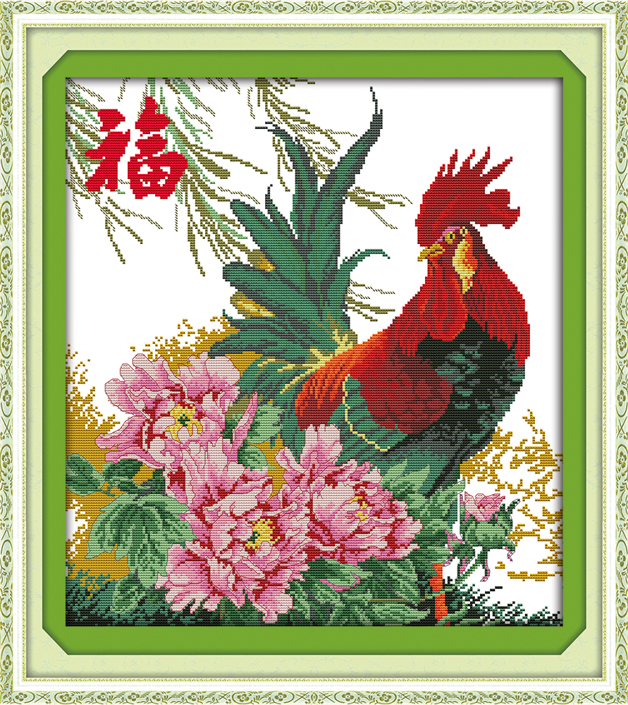 Arts,crafts & Sewing Flower And Cock Scenery Mascot Painting Counted Print On Canvas Dmc 14ct 11ct Chinese Cross Stitch Needlework Set Embroider Kits