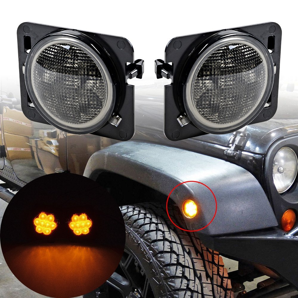 2PCS turn signal led light For Jeep Black Front Fender Flares Led Side Marker Parking Lamp For Jeep Wrangler JK  2007~2015 Amber 2 pcs black car styling parts front rear grab bar handles for jeep wrangler jk 2007 2017 new fashion upgraded