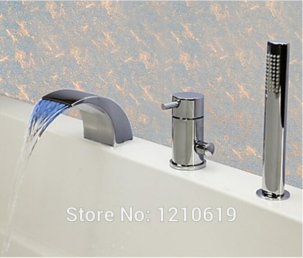 Newly US Free Shipping 3Pcs Bathroom Waterfall Bathtub Faucet With Shower Hand LED Color Changing Mixer Tap Deck Mount купить в Москве 2019