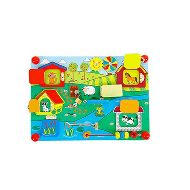 En bois Bébé Serrure Latche Conseil Sensorielle Compétence De Base D'apprentissage Perle Jeu Jouet Éducatif Montessori L'éducation modèle