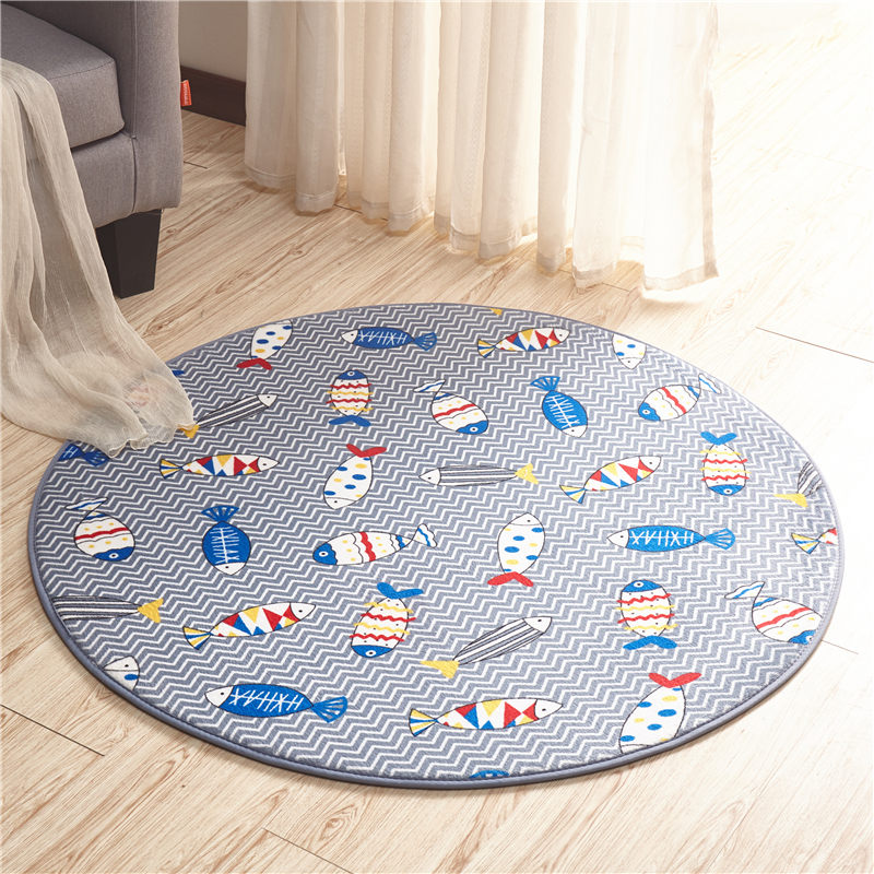 Round Bathroom Carpet Round Anti-Slip Floor Mat Ocean Fish Printed Bathroom Carpet Mat Toilet Rug Doormat Anti-Slip Floor Carpet