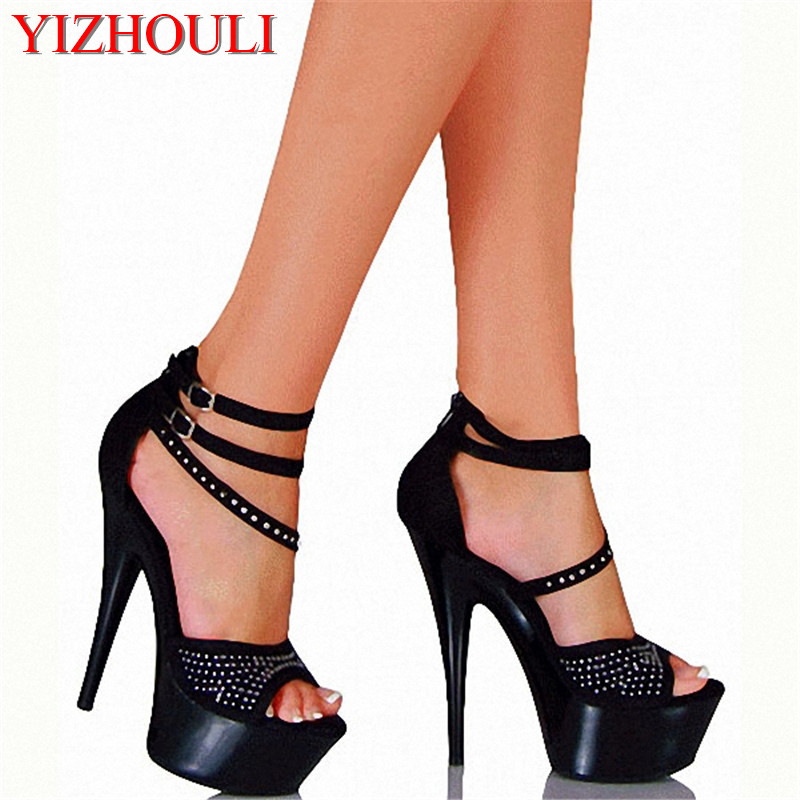 15cm ultra high heels sandals rivets open toe cover heel with the temptation to shoes 6 inch Platform dance shoes15cm ultra high heels sandals rivets open toe cover heel with the temptation to shoes 6 inch Platform dance shoes
