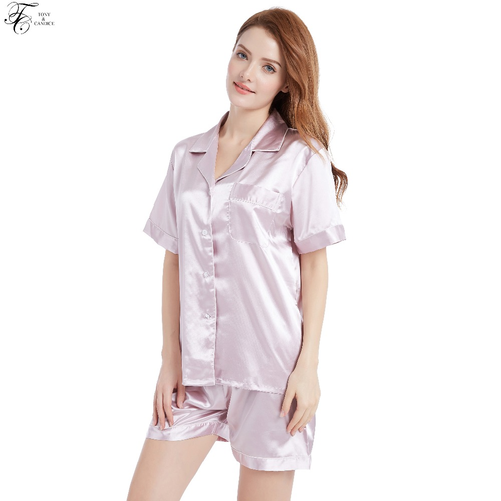 Tony Candice Summer Style Silk Short Trousers Pajamas For Women Sexy Pajama  Set Girls Sleepwear Soft Nightwear 18403f449
