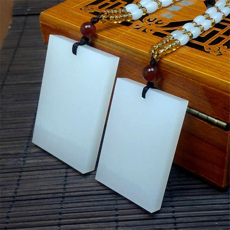 Nouveau carré sans mots Afghanistan pendentif en pierre blanche wek-jin femmes hommes amulette Suet Jades bijoux pendentifs + collier de perles