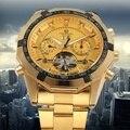 FORSINING Marca De Luxo Mens Automatic Relógios Mecânicos de Negócios de Moda Casuais de Esportes Ouro Amarelo Relógio de Pulso Relogio masculino