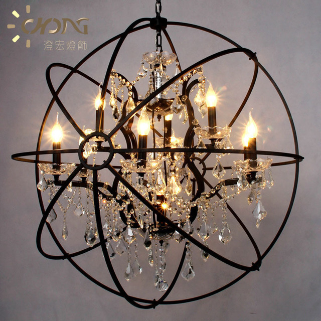 Nordic American Country Spherical Chandeliers Retro European Neoclassical Wrought Iron Armillary Sphere Gyroscopen