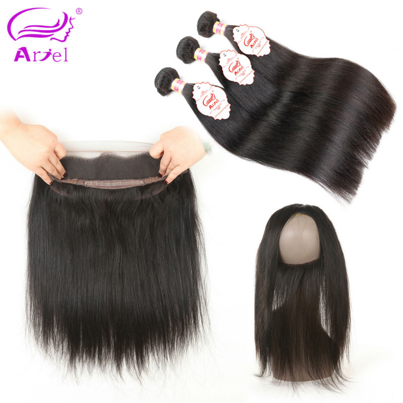 Ariel 3 Bundles Straight Hair 360 Frontal With Bundles Natural Color Non remy 8 28 inch