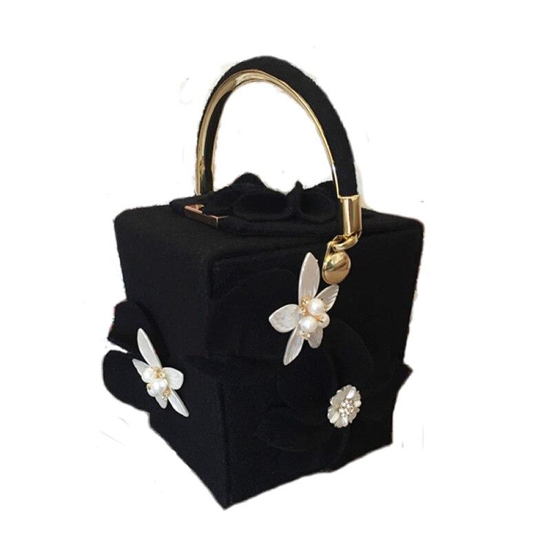 4c5a2c460 Mulheres Balde Saco de Lã Pérola Flor Totes Senhoras Casuais Moda Cadeia  Evening Caixa Bolsa Floral