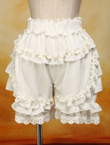 Summer Chiffon Ruffles Cute Lace Women Costume Pumpkin Shorts Lolita Bloomers