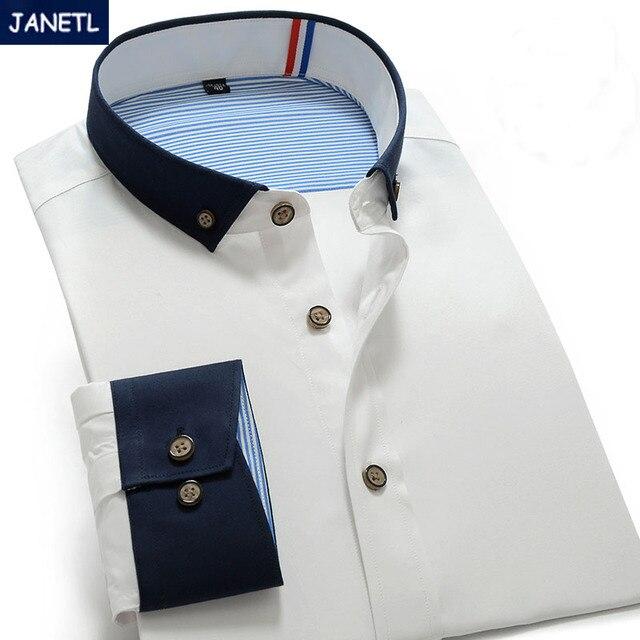 Hombres Camisas Casual Slim Fit Manga Larga de la Manera Camisas Masculina Camisa para hombre de la Marca Casual Para Hombre Camisas de Vestir Ropa de Trabajo Nueva 2017