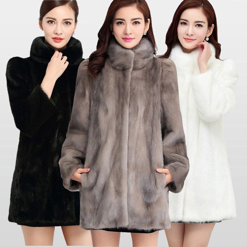 2018 di Nuovo Modo Reale Completa Pelt Visone del Cappotto di Pelliccia Per Le Donne Inverno Caldo Cappotti Giacca di Pelliccia Naturale di Grande Promozione Per commercio all'ingrosso MKW-040
