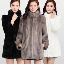 2018 nouvelle mode réel pleine peau vison manteau de fourrure pour les femmes chaud hiver manteaux naturel fourrure veste grande Promotion pour la vente en gros MKW 040