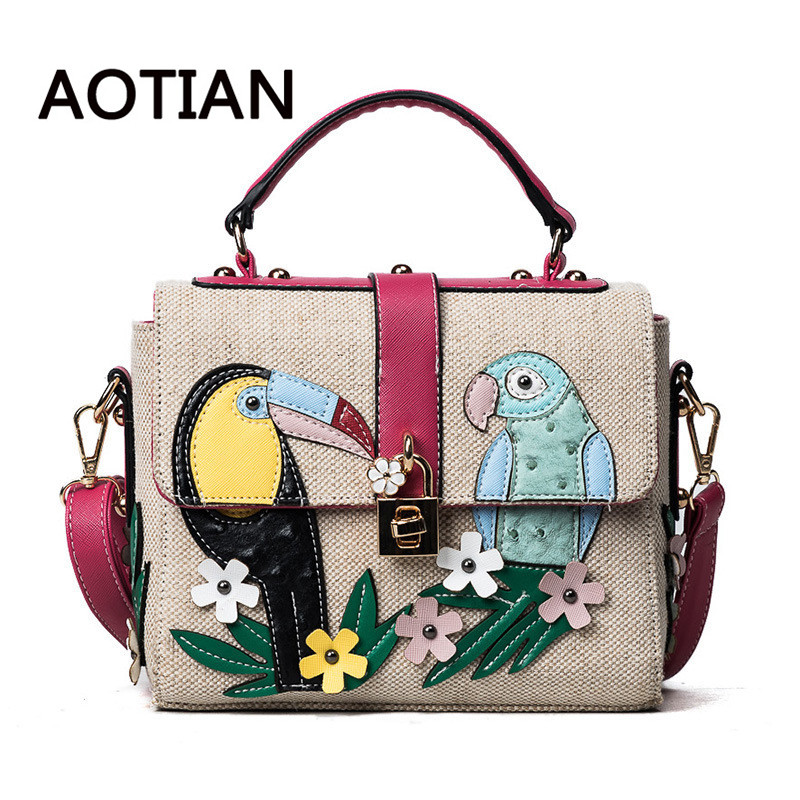 2018 Brand Design Parrot Pattern Bag Women Embossed Handbag High Quality PU Leather Tote Bag Female Shoulder Messenger Bags high quality pu fashion women handbag designers brand woman shoulder bags leather embossed bag handbag hot handbag for women